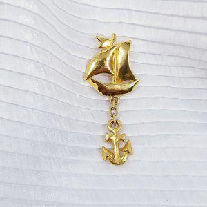 Vintage Sonia Rykiel Paris Sailboat/Anchor Pin